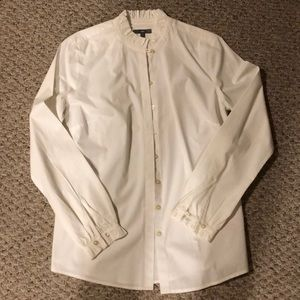 Gap white cotton ruffled collar shirt